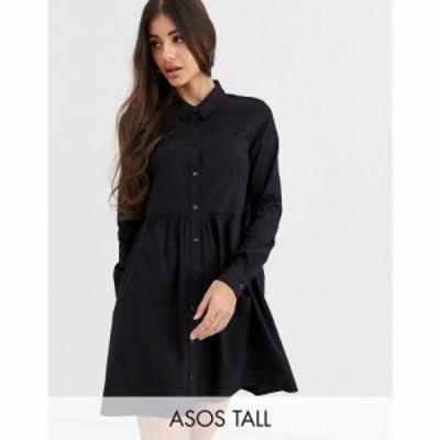 エイソス ASOS Tall レディース ワンピース シャツワンピース ワンピース・ドレス ASOS DESIGN Tall cotton mini smock shirt dress ブラ