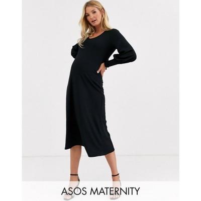 エイソス ASOS Maternity レディース ワンピース マタニティウェア ミドル丈 asos design maternity swing rib bow back midi dress ブラック