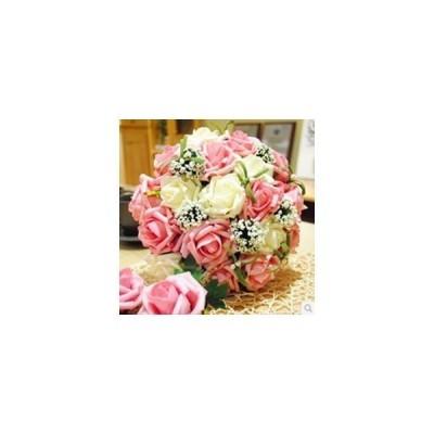 送料無料 ウエディング ブーケ 造花 ギフト 結婚式 披露宴 写真撮り 花嫁 花束 ブライダルブーケ 選べる4色 (12022424)