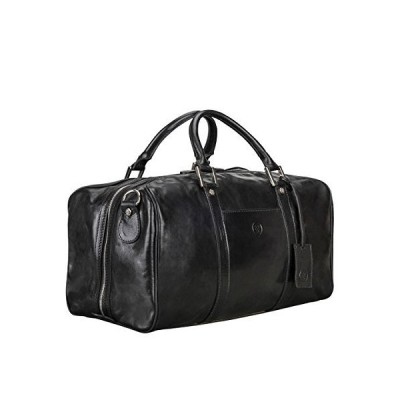 Maxwell Scott Personalised Italian Leather Small Travel Bag - FleroS Black 並行輸入品