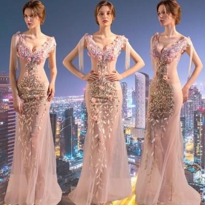 ロングドレス 演奏会ドレス パーティードレス ウェディングドレス 結婚式 二次会 花嫁ドレス 大きいサイズ カラードレス イブニングドレス お呼ばれ[ピンク]