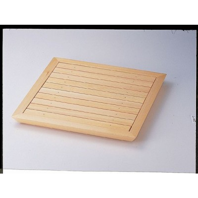 業務用漆器 木製品 菱舟角盛込器(目皿付)    43.8×43.8×3.9cm
