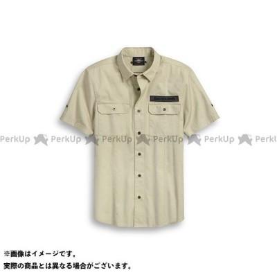 【雑誌付き】ハーレーダビッドソン Men's Raw Edge Patch Button Up Shirt(オフホワイト) サイズ:M HARLEY…