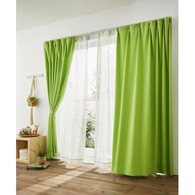 ブロック柄・遮光カーテン&リーフ柄レース4枚セット カーテン&レースセット, Curtains, sheer curtains, net curtains(ニッセン、nissen)