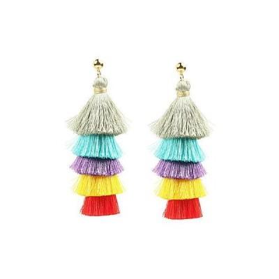 レディース アクセサリー  Eye Candy LA Multicolored Tiered Fringe 24K Gold Plated Drop Earring