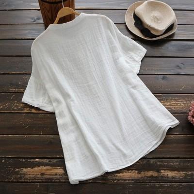 シャツブラウスレディース大きいサイズ刺繍春夏半袖プルオーバートップスj53816