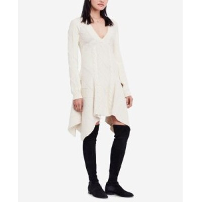 Free People フリーピープル ファッション ドレス Free People NEW White Ivory Women XS Cables & Castles Sweater Dress