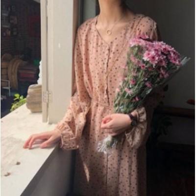 花柄 ワンピース ロング Vネック ハイウエスト フレア リボン フェミニン 大人可愛い 春 韓国 オルチャン ファッション