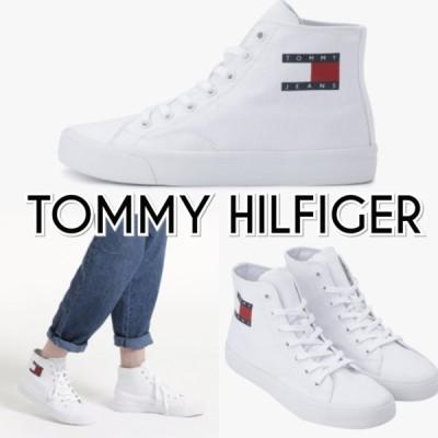 TOMMY JEANS トミージーンズ ミドルカット ロゴ スニーカー 白 レディース