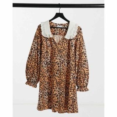 エイソス ASOS DESIGN レディース ワンピース ミニ丈 Mini Dress With Contrast White Oversized Collar In Leopard Print レオパードプ