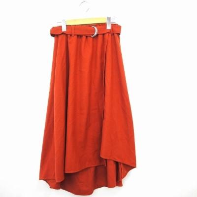 【中古】ディスコート Discoat スカート ボトムス フレア 無地 ベルト ロング丈 F レッド 赤 /MT22  【ベクトル 古着】