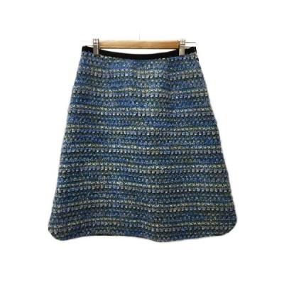 【中古】アナトリエ ANATELIER スカート 台形 ひざ丈 ラメ 38 青 緑 ブルー グリーン レディース 【ベクトル 古着】