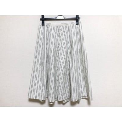ローズティアラ Rose Tiara スカート サイズ42 L レディース 美品 白×ネイビー ストライプ【中古】20201118
