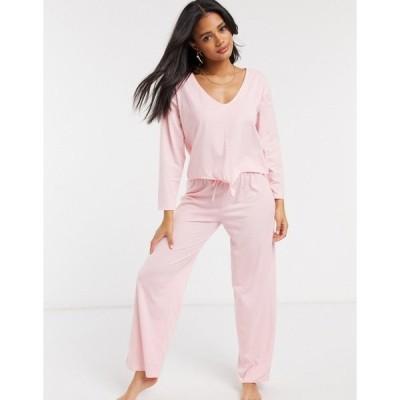 エイソス レディース カジュアルパンツ ボトムス ASOS DESIGN mix & match straight leg jersey pajama pant in pink Pink