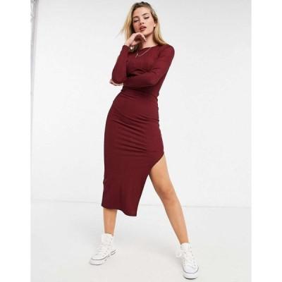 エイソス ミディドレス レディース ASOS DESIGN ribbed midi dress with long sleeves and cup details in burgundy エイソス ASOS