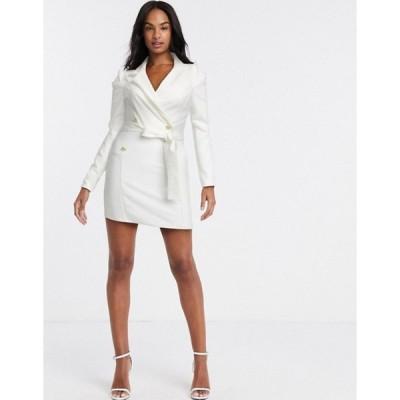 アウトレイジャスフォーチュン レディース ワンピース トップス Outrageous Fortune double breasted blazer dress in white