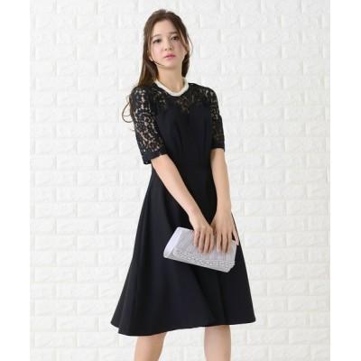 ドレス バックリボン付き花柄レース × ビスチェワンピース・ドレス