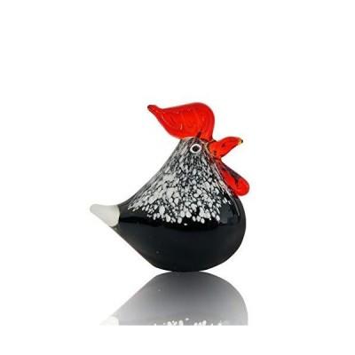 Handmade Blown Glass Chicken Sculpture, Artistic Glass Rooster Crafts, Anim