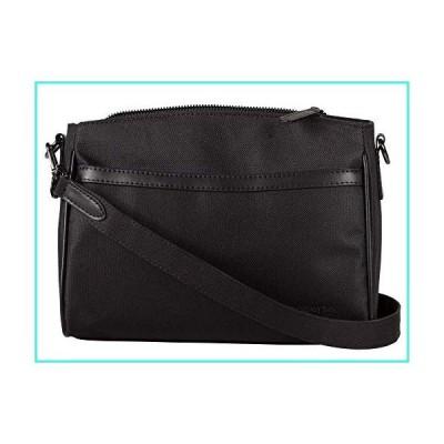 【新品】Aapporto Black Shoulder Bag - 10 Inch Purse - 2 Slip Pockets - 2 Zip Pockets - Polyester & Genuine Leather - Shoulder Strap for Crossbody