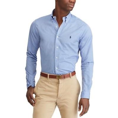ラルフローレン メンズ シャツ トップス Solid Stretch Poplin Long-Sleeve Woven Shirt Blue