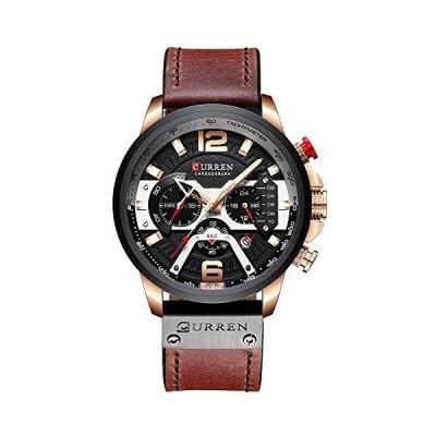CURREN メンズウォッチ クォーツ アナログ カレンダー 腕時計 メンズ ファッション 防水 レザーストラップ付き ブラウン