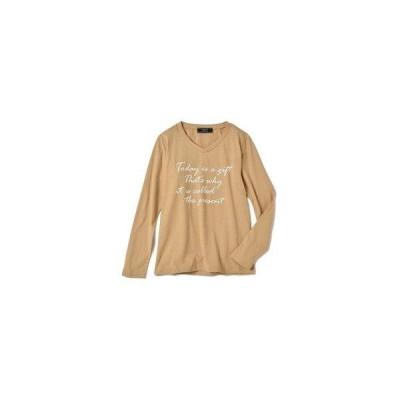 イディット IEDIT 定番にしたいこなれロゴプリントコットンTシャツ (ベージュ)