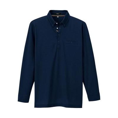 アイトス(AITOZ) 大きいサイズ(3L) 部屋干しボタンダウン長袖ポロシャツ(男女兼用) 008/ネイビー AZ-7665 ワークウェア 作業着