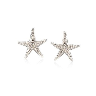 Ross-Simons 0.20 ct. t.w. Diamond Starfish Earrings in Sterling Silver