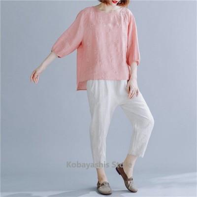 ブラウスレディース秋チュニックトップスシャツ大きいサイズゆったり体型カバー?大人ナチュラル風のデザインお洒落