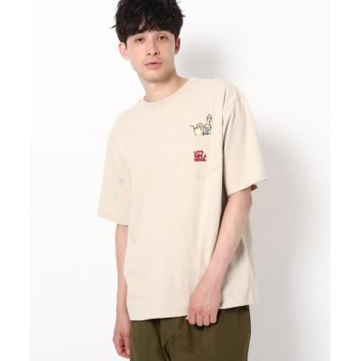 【ザ ショップ ティーケー】 ドリンク刺繍 ビックシルエット ポケットTシャツ ユニセックス ベージュ 02(M) THE SHOP TK