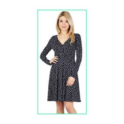 Long and Short Sleeve Crossover Faux Wrap Dresses for Women Reg and Plus Size Skater Swing Dress - Made in USA (Size XXXX-Large, Navy White Polka Dot)