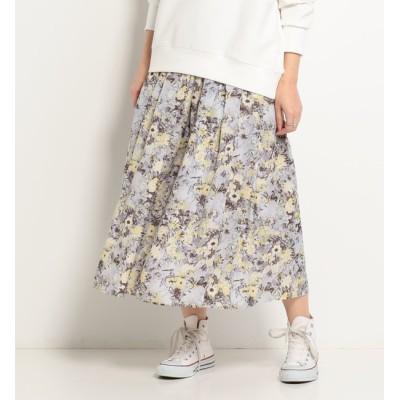 【ドゥアルシーヴ/Doux archives】 ゴムギャザー花柄スカート
