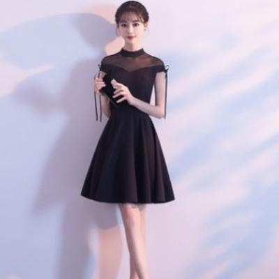 韓國 パーティドレス 黒 ミニドレス フレアスカート リトルブラックドレス シースルードレ 結婚式 お呼ばれドレス リボン 20