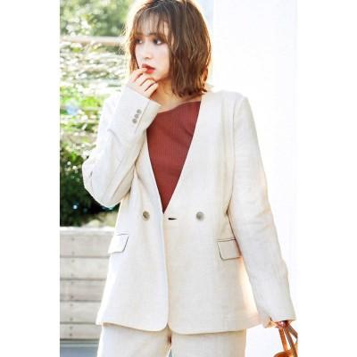 ◆《Sシリーズ対応商品》麻ブレンドノーカラージャケット ベージュ