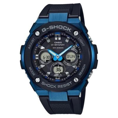カシオ G-Shock G-Steel GSTS300G-1A2 メンズ ブラックとブル- ソ-ラ-樹脂腕時計並行輸入