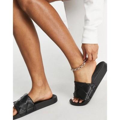 エイソス ASOS DESIGN レディース サンダル・ミュール シャワーサンダル シューズ・靴 Finley Woven Sliders In Black ブラック