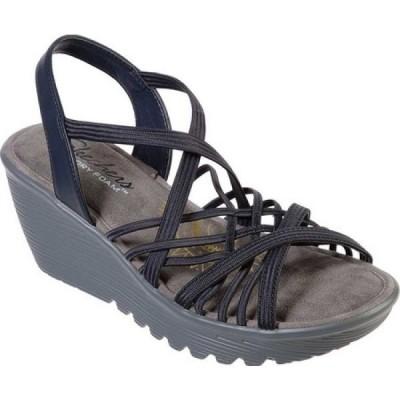 スケッチャーズ Skechers レディース サンダル・ミュール ウェッジソール シューズ・靴 Parallel Crossed Wires Strappy Wedge Sandal Navy