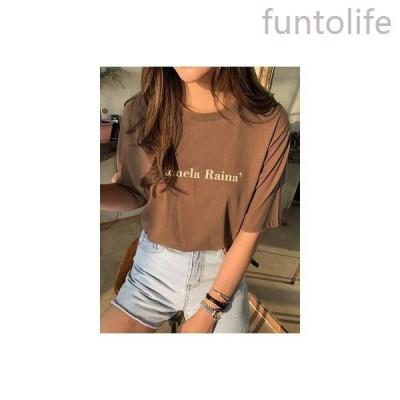 ロゴtシャツ半袖レディースカットソーtシャツロゴtシャツコットンロゴ入りブラウン茶色おしゃれ