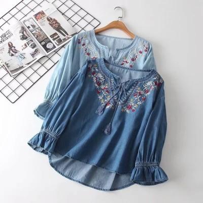 シャツ ブラウス レディース トップス 長袖 体型カバー 大きいサイズ Vネック ゆったり 刺繍 リネン