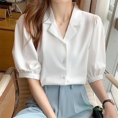 レディース 春夏 トップス 半袖 ブラウス シャツ 白ブラウス 大きいサイズ 襟 白シャツ シフォン シンプル 無地
