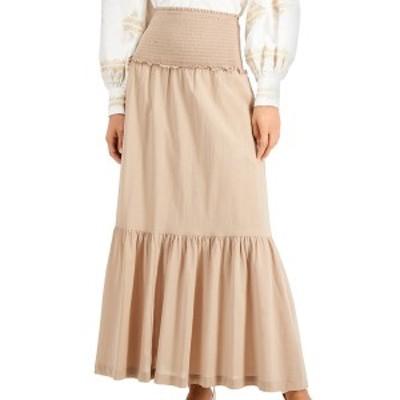 アイエヌシーインターナショナルコンセプト レディース スカート ボトムス INC Smocked Tiered Maxi Skirt, Created for Macy's Toasted