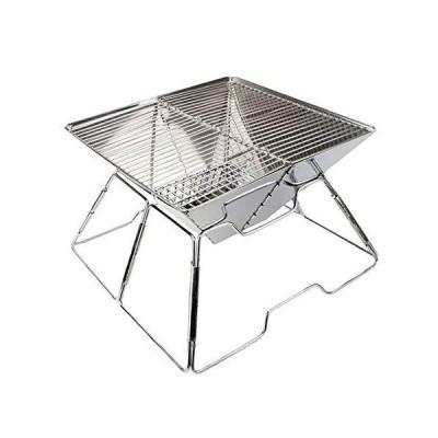 バーベキューコンロ 折りたたみ式 小型 簡単組み立て式 ステンレス製 BBQコンロ 焚き火台 卓上用 収納バッグ付?