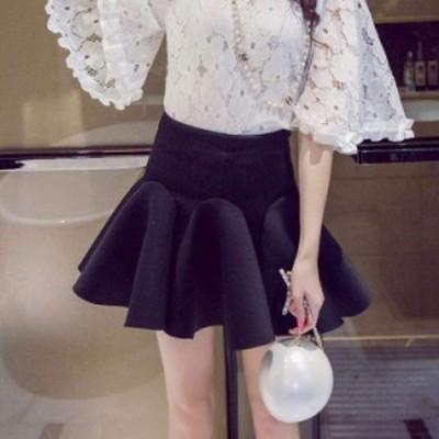 ハイウエスト ショート丈 ミニスカート フレア 無地 かわいい キュート ふんわり ボリューム お嬢様 小柄 小さいサイズ 小さい 服
