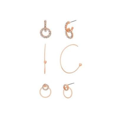 スティーブ マデン レディース ピアス・イヤリング アクセサリー Hoop and Post Three Piece Earring Set