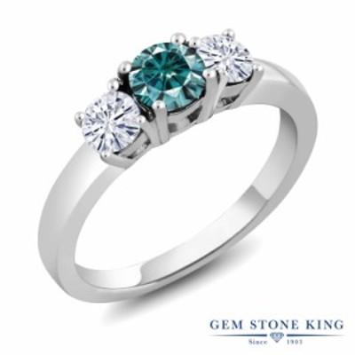 指輪 リング レディース 0.96カラット ブルー モアサナイト シルバー925 3連 モアッサナイト 小粒 スリーストーン プレゼント 女性 彼女