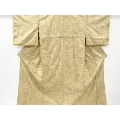 宗sou 草花模様織り出し十日町紬単衣着物【アンティーク】【着】