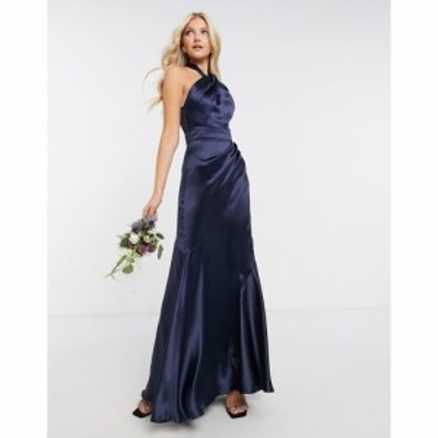 エイソス ASOS DESIGN レディース ワンピース マキシ丈 Bridesmaid Satin Halter Maxi Dress With Panelled Skirt And Keyhole Detail ネ