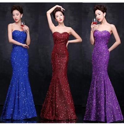 素敵なカラードレス パーティードレス 舞台ドレス  ウェディングドレス 結婚式 披露宴 二次会 演奏会