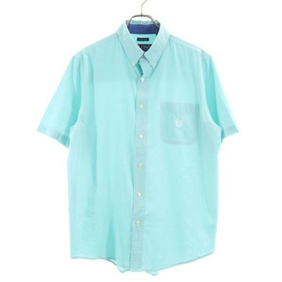 チャップスラルフローレン チェック 半袖 ボタンダウンシャツ L グリーン系 CHAPS RALPH LAUREN ロゴ刺繍 胸ポケット メンズ 古着 200531