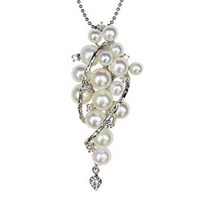 真珠 ダイヤモンド ペンダント ペンダントトップ ペンダントヘッド あこや本真珠 ベビーパール K18WG 送料無料  真珠婚